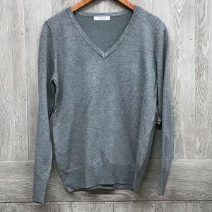 Heather Grey Crew Neck Lightweight Sweater A5